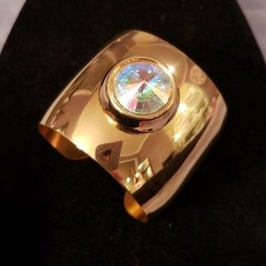 Jewelry - Gold Bangle Bracelet with Iridescent Center Stone